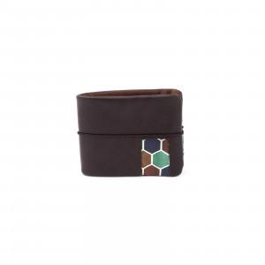 Sötét barna földszínű hexagonos pénztárca