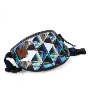 Kék, szürke háromszöges övtáska