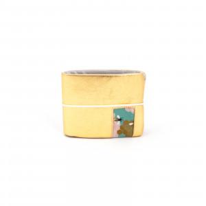 Méhes, rózsás arany pénztárca