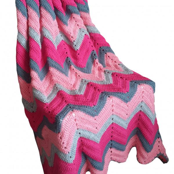 Vintage Look Zig Zag Crochet Blanket Fuschiacerise Pink Fogslate