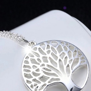 Family tree silver plated pendant kittijewelry family tree silver plated pendant aloadofball Choice Image