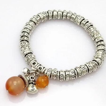 Antique Amber Silver Plated Bracelet