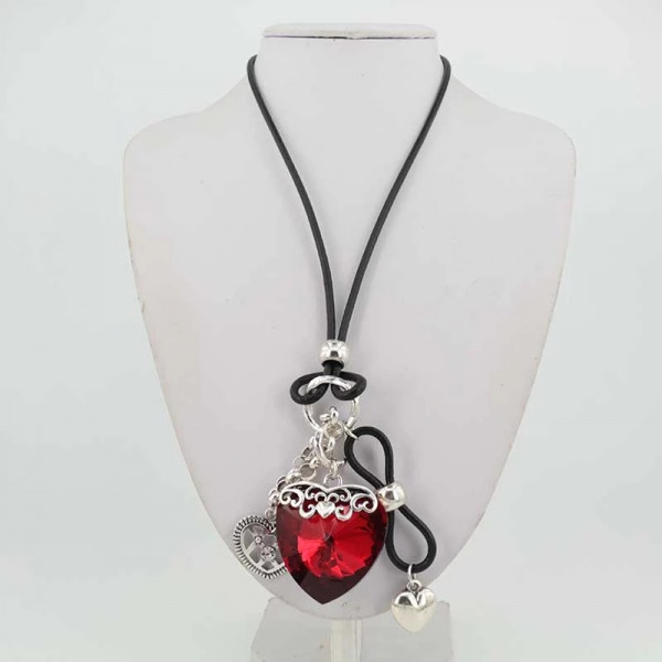 clavicle new valentine heart white silver s pendant necklace day short love sterling red item chain korea