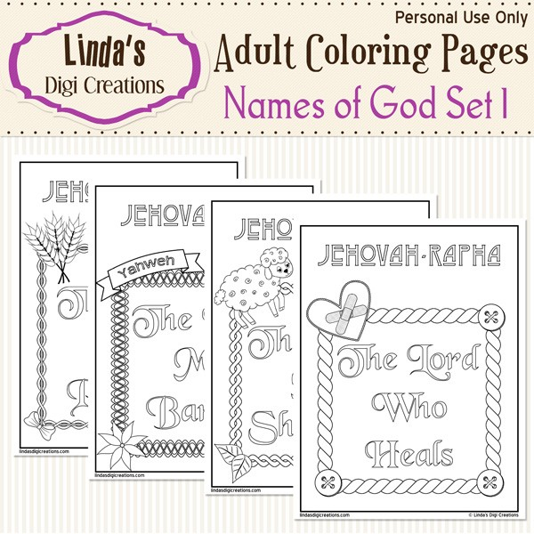 Names Of God Printable Adult Coloring Pages Set 1 - Linda\'s Digi ...